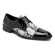 Zapatos Hombre Vestir Combinados Reptil Charol Moda Import