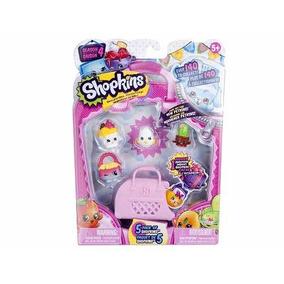 Nuevos! Shopkins Serie 4 Pack 5 Figuras + Valijita