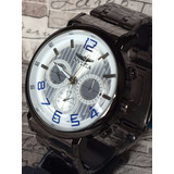 Relógio Luxo Grafiti Chumbo Importado Na Caixa Comum