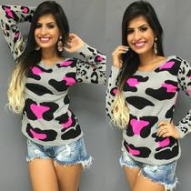 Blusa Oncinha De Frio Feminina De Lã Tricô Barbie