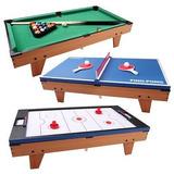 Oferta Mini Billar, Ping Pong Y Hockey De Lujo 3 En 1