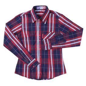 865f7546a6 Camisa Xadrez Feminina Azul Rodeo Western Manga Longa 23344
