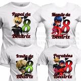 4 Camisetas Miraculous Camisa Ladybug Aniversário Ladybag