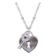 Collar Corazón Con Llave De Plata 0.925 Con Zirconias - 1126