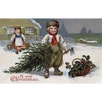 Una Feliz Navidad - Niño Con Un Árbol Del Corte (9x12 Impre