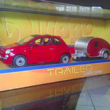 Burago Fiat500 Con Remolque Metálico 1:32