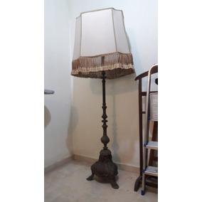 Lámpara De Pie Antigua En Bronce