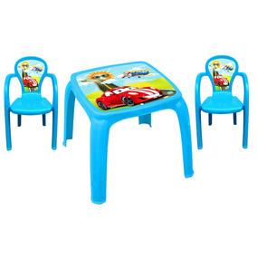 Mesa Infantil Carro Com 2 Cadeiras Azul