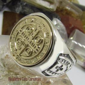 Anel Medalha São Bento Ouro 18k Prata Ojoalheiro Desde 1898