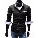 Camisa Hombre Slim Fit - Ajustada Pocket Flip Promoción