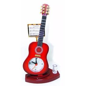 Relógio De Mesa Despertador Porta Caneta Formato Violão