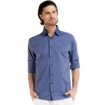 Camisa Social Slim Maquinetada Azul Buon Giorno Adan