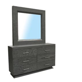 tocador daphne con espejo y cajones gris fabou muebles