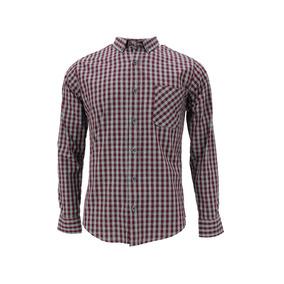 Camisa M/l Cuadros Tinto Y Gris