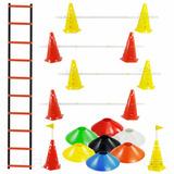 Escada + 10 Pratos + 10 Cones Furado C/ Barreira Funcional