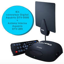 Kit Conversor Digital Dtv 5000 E Antena Interna Aquario Dtv