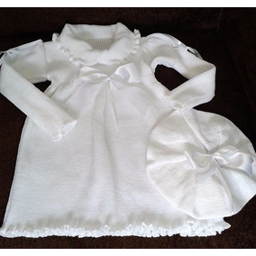 Batizado Festa Bebê Menina Inverno Vestido Branco Fitinhas