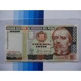 Billete 100000 - 100 Mil Intis 1988 Variante Franja Platino