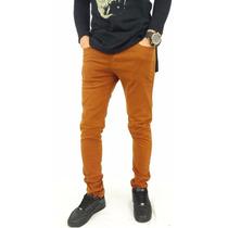 Calça Jeans Masculina Sarja Skinny Coloridas Vinho Marrom