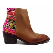 Natacha Zapato Mujer Bota Baja Indio Suela Y Tela Hindu #782
