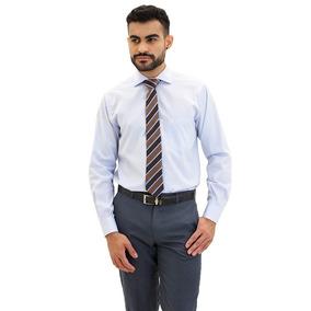 Camisa Social Masculina Algodão Fio 100 F09939a Azul Claro