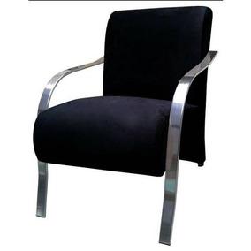 Poltrona Decorativa Vênus Braço Alumínio Cromado Ou Madeira