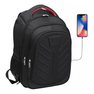 Mochila Porta Notebook Hasta 17' Urbana Ejecutiva Acolchada Smart Bag Con Usb Para Celular Reforzada Premium Grande