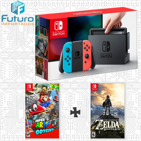 Nintendo Switch Neon + Mario Odyssey + Zelda Breath Of The W