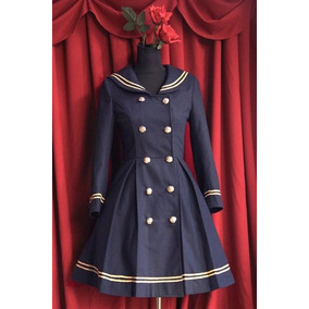 Abrigo Sailor Lolita Color Azul Marino Moda Japonesa Talla M