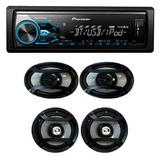 Combo Radio Piooner Bluetooth Usb Con 4 Cornetas Mxtx3869bt