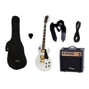 Combo Guitarra Electrica Parquer Lp Blanca Amplif 10w Cuota