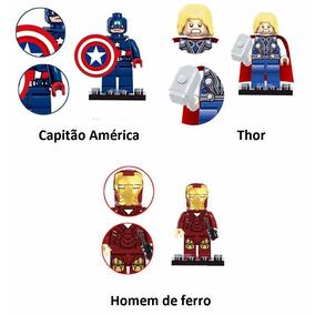 Capitão, Thor, Homem De Ferro 3pçs/lote Compatível Ao Lego