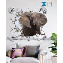 Vinilo Decorativo Animales 3d Elefante Safari Sticker Pared