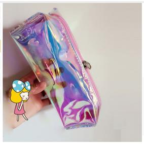 Estojo Case Holográfico Transparente Moda Zíper Rosa Make