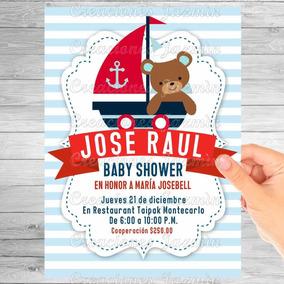 Invitación Digital Baby Shower Osito Marinero