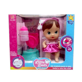 Boneca Little Dolls Faz Xixi Morena 8002 Diver Toys