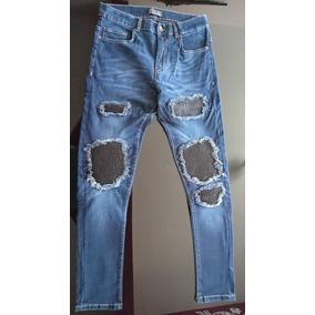 Pantalon Jeans Con Parches Negros Zara Man Talla 32, Azul