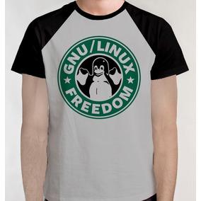 Camiseta Raglan Camisa Blusa Gnu Linux Developer Starbucks