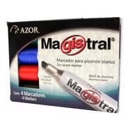 Marcador Magistral Aluminio Para Pizarron Blanco Estuche4pzs