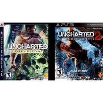 Uncharted 1 Português + Uncharted 2 Ingles Mídia Física Ps3