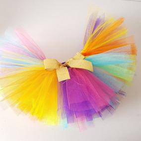 Falda Tutú De Tul Multicolor 0 A 18 M Bebes Niñas Disfraz