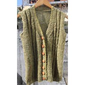 Crochetchile Chaleco 100% Lana Palillo, Talla Xs