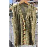 Crochetchile Chaleco 100% Lana Palillo, Talla S