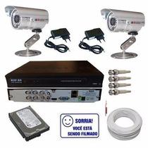 Sistema Monitoramento 2 Câmeras Infra Gravador Stand Alone