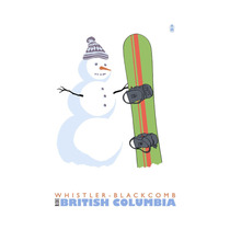 Whistler-blackcomb, Bc, Canada, Snowman With Snowboard Pri