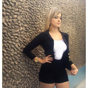 Conjunto 3 Peças Short Top E Blusa Blazer Frio Moda Inverno
