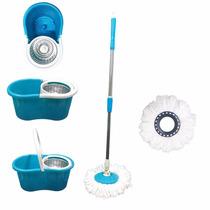 Kit Spin Mop De Limpeza Balde Com Esfregao Vassoura Inox