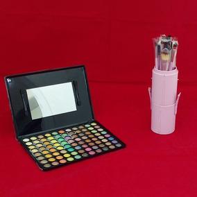 Kit Paleta Com 88 Sombras #6+12 Pincéis Case Rosa+ Case Rosa