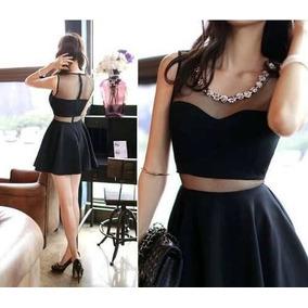 Vestido preto curto transparente