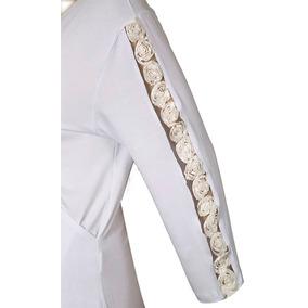 Blusa Cache Coeur Mg ¾ Apliq Rosas Viscolyc Bca Tam52 Re1270